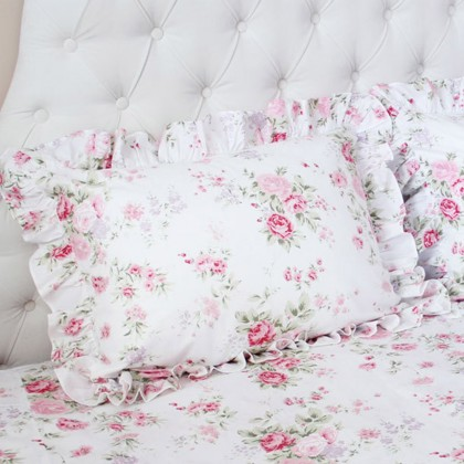 White Romance Rose Ruffle Pillow Sham