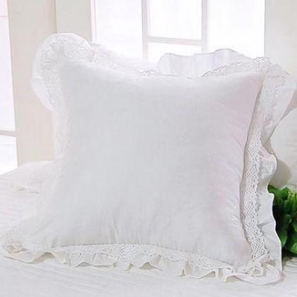 White Cotton Lace  Ruffle Cushion Cover