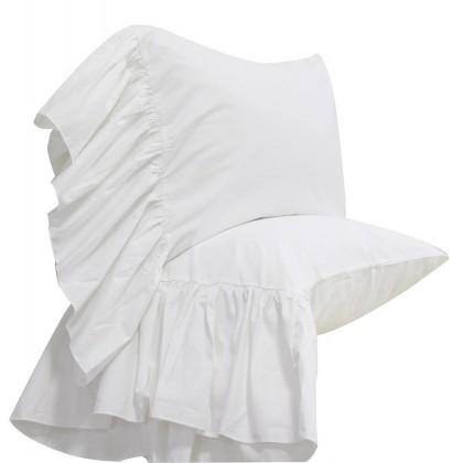 Mermaid Long Ruffle Pillowcase-White