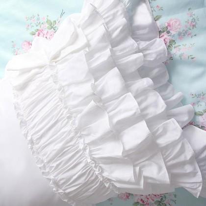 White Ruched Ruffle Pillow Sham