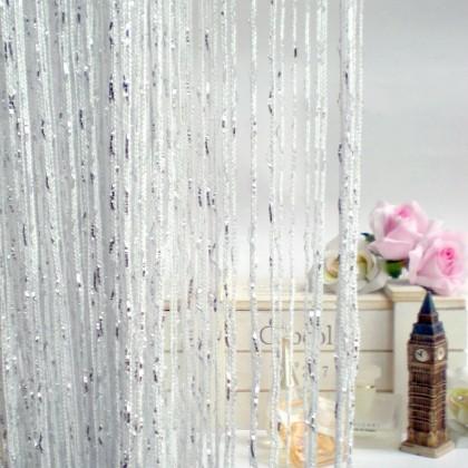 White Silver String Curtain