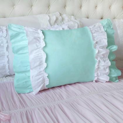 Double Ruffle Turquoise White Pillow Sham