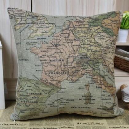 European World Map Cushion Cover