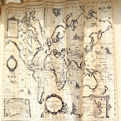 World Map Atlas Valance Curtain