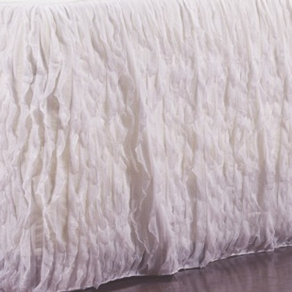 Vertical Ruffle White Bed Skirt