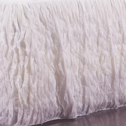 Vertical Ruffle White Bed Skirt