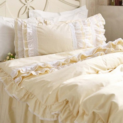 Lace Love Duvet Cover Set, Light Yellow