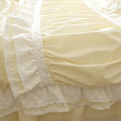 Ultimate Lace Duvet Cover Set, Light Yellow