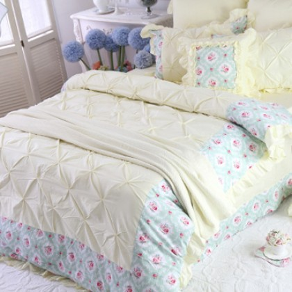 Yellow Pinch Pleat Puckering Ruffle Duvet Cover Set