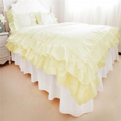 Light Yellow Double Ruffle Duvet Cover Set
