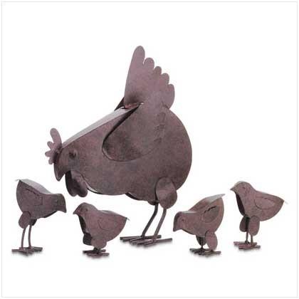 Metal Chicken Sculptures