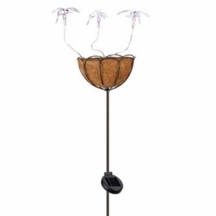 Solar Hummingbird Basket Stake