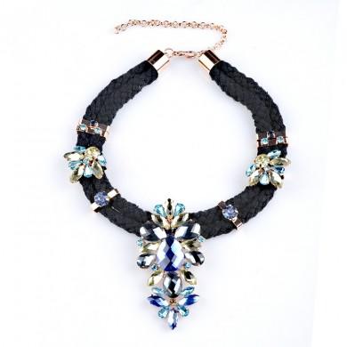 Crystal Dazzle Necklace-Blue