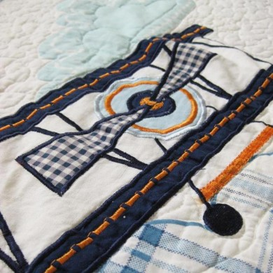 Airplane Applique Patchwork Bedspread 2pcs Quilt