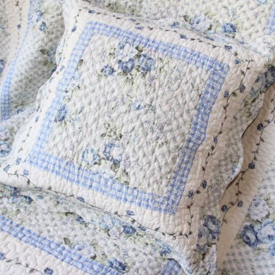 Shabby Blue Rose Cushion Cover
