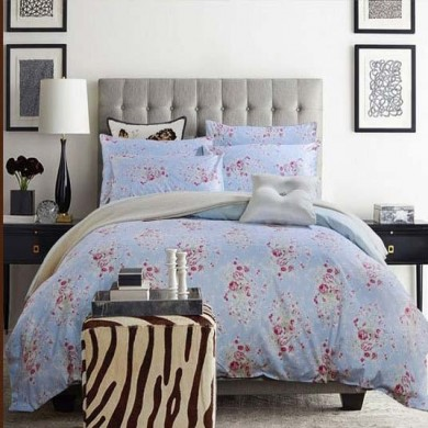 Blue Cottage Rose Egyptian Cotton Duvet Cover Set