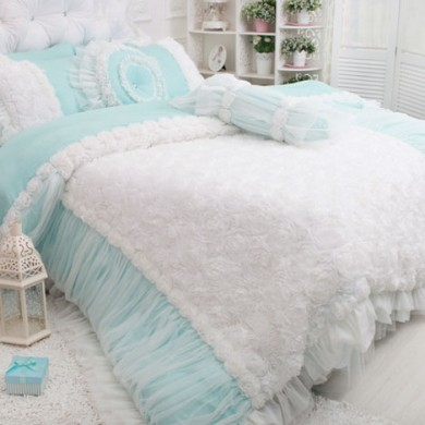 Rose Ruffle Duvet Cover Set, Blue