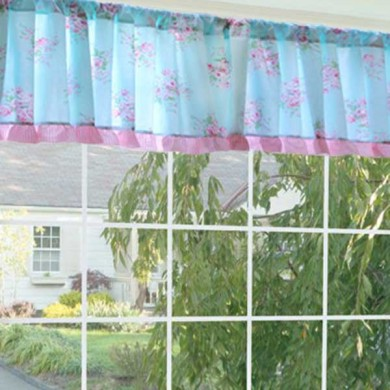 Shabby Bella Blue Rose Coffee Curtain