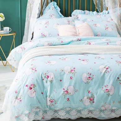 Victorian Sweet Rose Cotton Duvet Cover Set-Blue