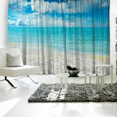 Ocean Beach Relax Theme Curtain Set