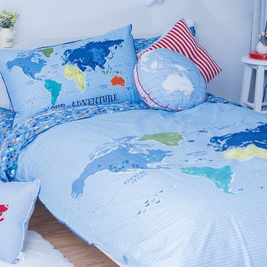World Map Travel Duvet Cover Set