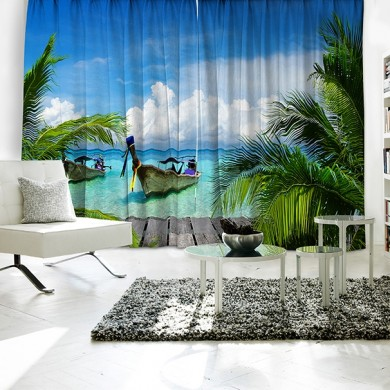 Ocean Boat Relax Theme Curtain Set
