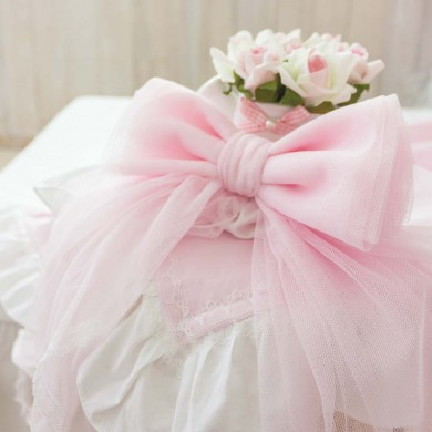 Pink Tulle Bow Pin Tieback Pairs