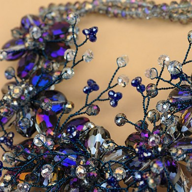 Midnight Crystal Necklace, Purple