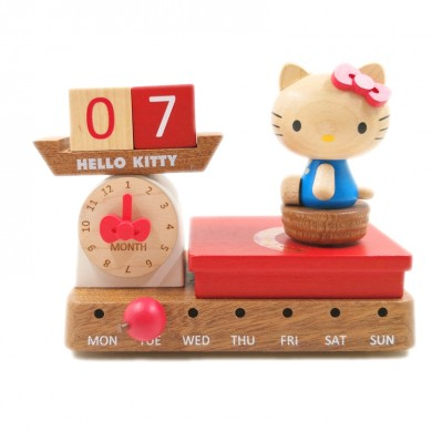 Cute Hello Kitty Scale Perpetual Calendar, Wooden Block Daily Calendar Home and Office Decor