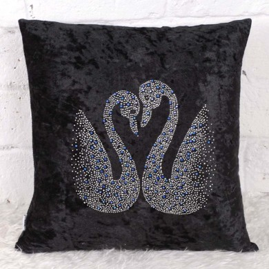 Black Velvet Swan Cushion Cover