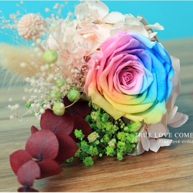 Fancy Rainbow Eternal Rose in Glass Colors Changing Night Light