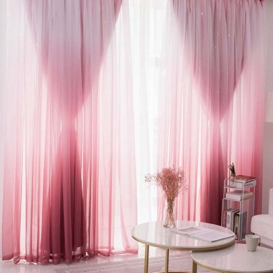 Stars Block-out Curtains in Pink Gradient Design