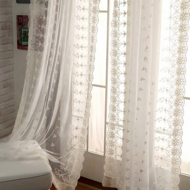 "Ivory Lace Love Curtain Panel 100""L"