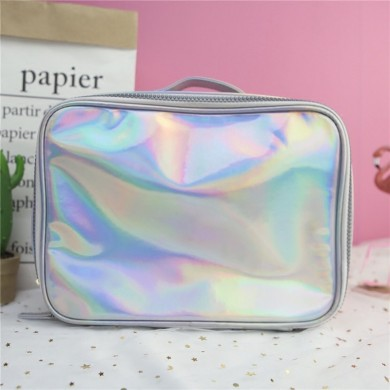 Silver Iridescent Hologram Makeup Bag