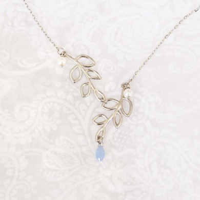 Modern Antique Silver Finish Lariat Tree Branch  Leaves Necklace