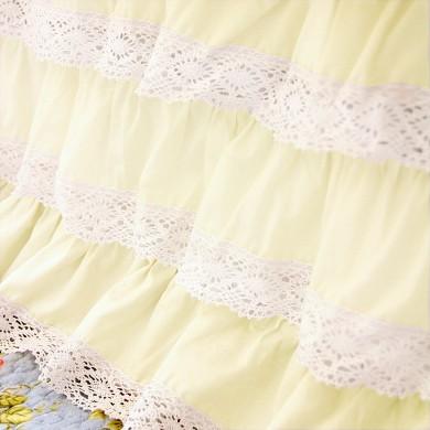 Yellow Crochet Cotton Lace Ruffle Bed Skirt