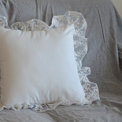 Embroidery Lace Parisian Ruffle Cushion Cover