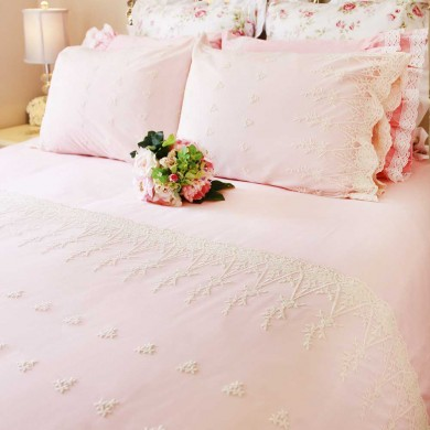 Pink Lace Love Duvet Cover Set