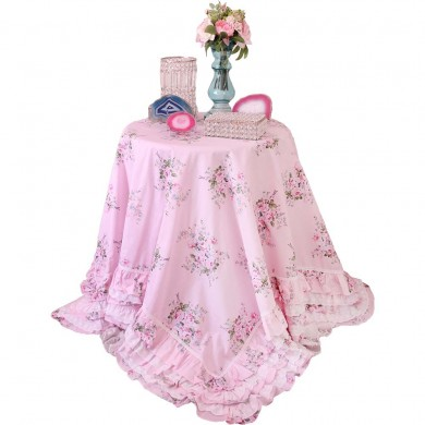 Pink Rose Blossom Ruffle Tablecloth