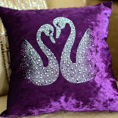 Purple Velvet Swan Cushion Cover