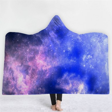 Space Nebula Throw Blanket with Hood