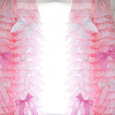 Pink Ruffle Waterfall Curtain Set