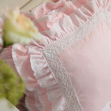 Lace Love Ruffle Cushion Cover, Pink