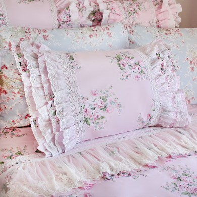 Lace Love Pillow Sham, Pink Rose