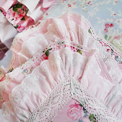Lace Love Ruffle Cushion Cover, Pink Rose
