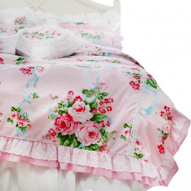 Pink Farmhouse Duvet Cover Set