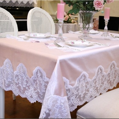 Pink Embroidery Lace Shabby Chic Tablecloth