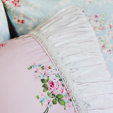 Mermaid Long Ruffle Pillow Sham, Pink Rose