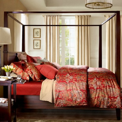 Red Rosalie Egyptian Cotton Duvet Cover Set
