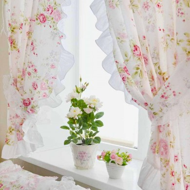 White Romance Curtain Panel Set (1 pair)